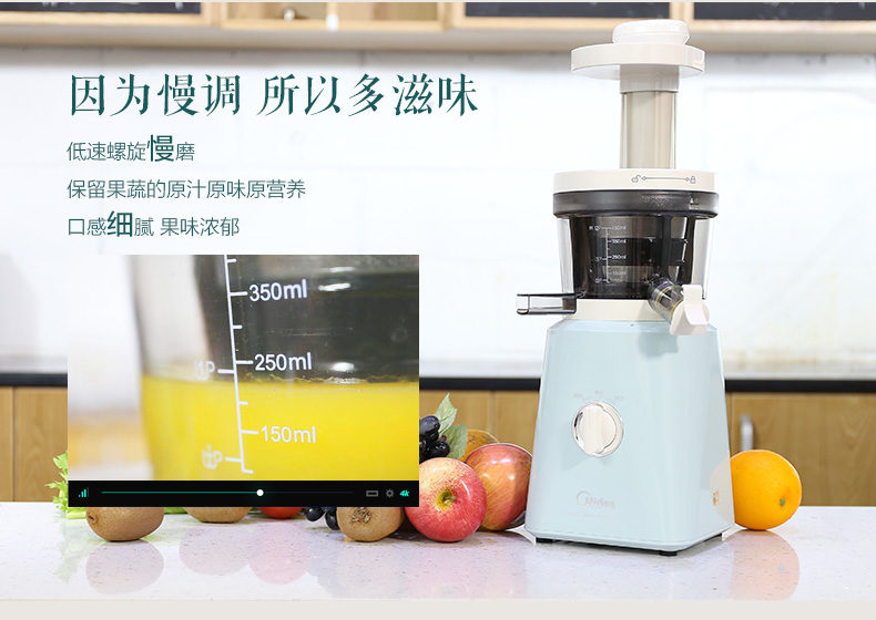 Midea Slow Juicer Reviews : Midea WJS20H31XL-G Multi-functional Mini Auger Masticating Slow Juicer with Ice-cream Feature