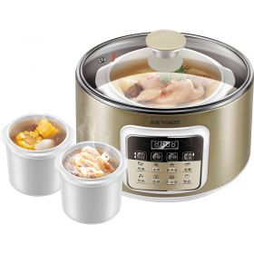Tonze DGD25-25CWG 2.5 Liter 3 in 1 Ceramic Insert Water-isolated & Direct Stew Slow Cooker