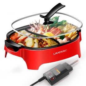 Liven DHG-600BY Korean 6.0L Multi-functional Non-stick Electric Steamboat / Hot Pot with Divider