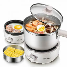 Bear DRG-C12M2 Multi-functional 1.2 Liter Electric Skillet / Hot Pot with Glass Lid and Steamer Bowl