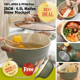 Japanese Style 14671 APEO & PFOA-Free 6.8L Non-Stick 28CM Maifan Stone Dutch Oven Casserole Stockpot/Hot Pot With Bakelite Handle and Lid (Suitable For All Stove Including Induction)