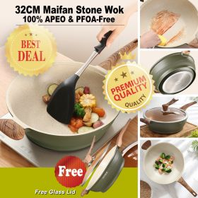 Japanese Style 14701 APEO & PFOA-Free Non-Stick 32CM Maifan Stone Stir-Fry Pan/Wok With Bakelite Handle and Lid (Suitable For All Stove Including Induction)