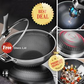ORY 121 High-end 7-ply clad 18/10 Surgical Stainless Steel Nonstick Full Honey Comb structure Plated Stir-Fry Pan, Scratch-Resistant Wok with Glass Lid