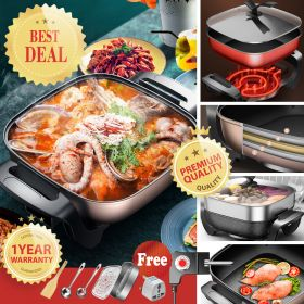 HADELE HSX-Y30 1400W 6L Multi-functional Non-stick Electric Skillet / Steamer / Hot Pot with 5 Adjustable Temperature Control and Stand Tempered Glass Vented Lid