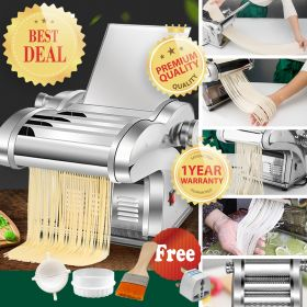 HM JCD-BIM568 Noodle/Pasta Maker, Electric Noodle Press Machine, Spaghetti Pasta Maker, Stainless Steel Dough Cutter, Dumplings Roller, 6 Speed Adjustable Thickness Setting (Multiple-Knife Available)