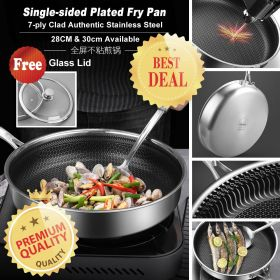 28CM/30CM 7-ply Clad 304 Surgical Stainless Steel Non-Stick German Single-Sided Honeycomb texture Plated Fry Pan with Glass Lid