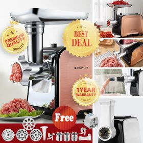 Nintaus JZM-JR351 Electric Food / Meat Grinder, Multi-function Meat Mincer Sausage Stuffer with Sausage Tube, Vegetable Slicer, Salsa Make, 2 Stainless Steel Blades, 3 Grinding Plates, Concealed Storage Box Design