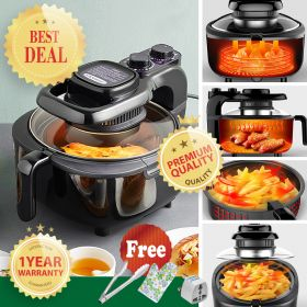 Liven KZ-J5000A Multi-functional 5 Liter Direct Viewing Glass Air Fryer, Air Frying, Roasting, Reheating & Dehydrating with Fluorine Resin Coated Basket (Black)