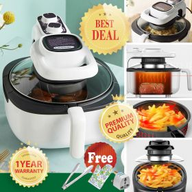 Liven KZ-J5000A Multi-functional 5 Liter Direct Viewing Glass Air Fryer, Air Frying, Roasting, Reheating & Dehydrating with Fluorine Resin Coated Basket (White)