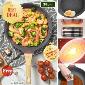 HM MFSJG-1 Thermo Smart Nonstick Induction Maifan Stone Frying Pan, Skillets with Heat-Resistant Ergonomic Handle with Heat Indicator