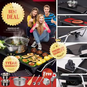 YUBEGA OY-210 Large Capacity Multifunctional Barbecue Electric Grill with Hot Pot, Indoor Teppanyaki Grill/Shabu Shabu Pot, Large Electric Baking Pan, Can Be Grilled, Fried, Boiled, And Braised