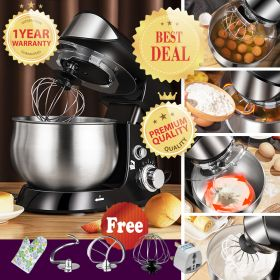 SOHEF SC-216 Automatic Electric Stand Mixer, Imitative Artisan Dough Mixer, 600W 6-Speed 3.5L Stainless Steel Mixing Bowl Electric Mixer (with Beater, Whisk, Dough Hook)