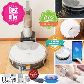 Haier TAB-TS60BSC Wi-Fi Smart Panoramic Navigation  & Route Planning Robot Vacuum Cleaner, Huge 5200mAh Battery Power, 2150PA Strong Suction, with All-round Cordless Handheld Vacuum and Detachable Water Tank