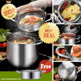 HM-TGG-1 Mirror Polished Thicken Arc Shape 304 Stainless Steel stockpot, with Steamer and Glass lid, 3-ply Uncoated Composite Bottom, Dishwasher Safe, (Suitable for Universal Heat Sources)