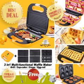 RoyalStar YKJ70 3-in-1 Electric Waffle Maker with Detachable Non-Stick Cupcake, and Skillet & Grill Plates, 650-Watts, LED Indicator Lights, Cool Touch Handle, Anti-Skid Feet, Yellow