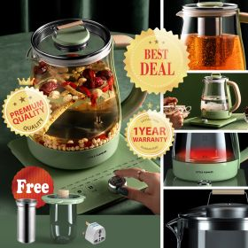 Little Pumpkin YSH-101C Multi-functional 1.8 Liter Intelligent High Borosilicate Glass herb Tea Kettle with Stainless Steel Infuser