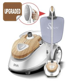 SALAV GS3218W Natural Wooden Textured Telescopic Pressurized Garment Steamer with Iron Board