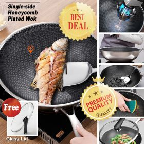 ORY 121-SD High-end 7-ply clad 18/10 Surgical Stainless Steel Nonstick Single-sided Honeycomb structure Plated Stir-Fry Pan, Scratch-Resistant Wok with Lid