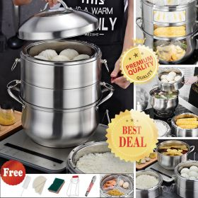WY-4 Authentic 3-ply 304 Stainless Steel Multi-Tier Cooking Pot, Rice cooker, Double Boiler, Stack, Steam Soup Pot and Steamer. Visible cover, work with Gas, Electric, and Grill stove top