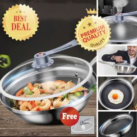 High-end 7-ply Clad 8/10 Surgical Stainless Steel Vacuum Wok / Nano titanium Nonstick Honey Comb Plated High-Pressure Stir Fry Pan, Scratch-Resistant Wok with Lid (Suitable for All Stove)
