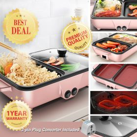 SELCIUS A11 Multifunctional Electric Mini Non-Stick Barbecue Grill Pan / Skillet / Shabu-Shabu Hot Pot with Independent Temperature Control
