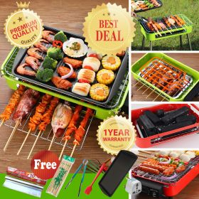 HM BY-LY Portable Barbeque Grill | Stainless Steel Electric Indoor/Outdoor Charcoal BBQ Grill with Stands Perfect for Your Camping & Picnic