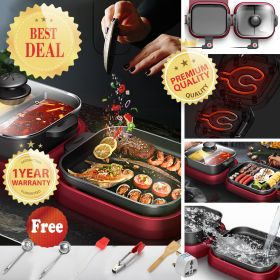 HM CS-C Multi-Function Electric 2200W Korean Non-stick Coating Surface BBQ Grill & Hot Pot with Dual 5-level Adjustable Temperature Thermostat