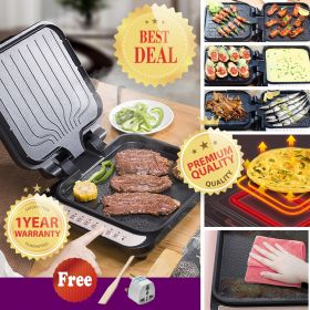 Bear DBC-B13A1 Multi-functional 180° Portable Electric Griddle with Grill Lid