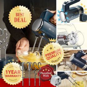 Bear DDQ-B02L1 10-Speed Electric Hand Mixer With Durable Chrome Beater and Dough Hook