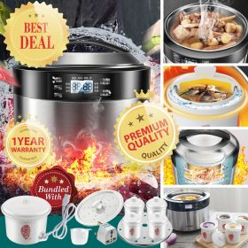 Tonze DGD35-35EWG 3.5 Liter 5 in 1 Ceramic Insert Water-isolated & Direct Stew Slow Cooker