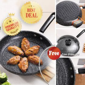 Lady's GZ-008 6-ply Maifan Stone Coating Non-Stick 26CM Steak Frying Pan with Lid