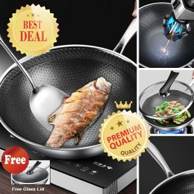 DAGE GZ-22Q 7-ply clad Stainless Steel Nonstick Full Honey Comb Plated 32cm Stir Fry Pan / Wok