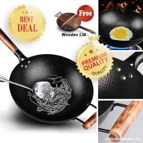 Large Uncoated 32CM / 34CM Cast Iron Wok with Helper Handle and Wooden Lid, Round Bottom Non-Stick Iron Skillet / Stir-fry Pan