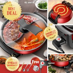 HADELE HC-34 Large Multi-functional Non-stick Electric Skillet, Shabu Shabu Steamboat, Hot Pot with Heat Control Unit