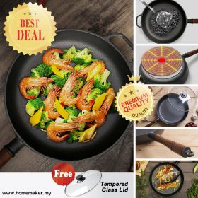 D-Cooker JG-D214 Cast Iron Frying Pan with Wooden Handle, Non-coated Non-stick Steak, Breakfast, Omelette, Pancake Skillet