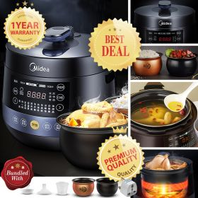 Midea MY-YL50Easy202 Multi-functional 5 Liter Dual Insert Programmable Timer Pressure Cooker