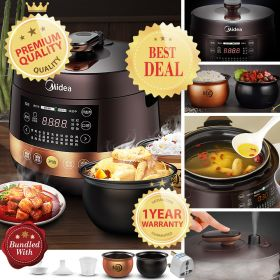 Midea MY-YL50Easy203 Multi-functional 5 Liter Dual Insert Programmable Timer Pressure Cooker (Brown)