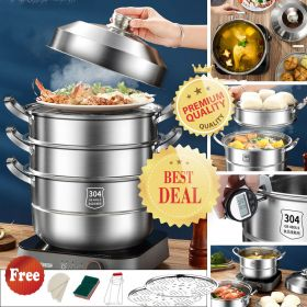 HM PX-304 Multi-Tier Authentic SUS304 Stainless Steel Steamer Set, Multi-Layer Cookware Pot with Tempered Glass Lid, Work with Gas, Electric, Grill Stove Top, Dishwasher Safe, Includes 2 Steaming Septa