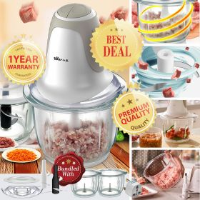 Bear QSJ-B03D1 Dual 1.5L Glass Bowl & Blade Food Processor Electric Multipurpose Food Chopper, Blender and Mincer