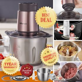 Bear QSJ-B03F1 2L Stainless Steel Food Processor Multipurpose Food Chopper, Blender and Mincer
