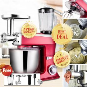 Stelang SC-266 1500W 7.5 Liter Chef Gourmet 7-Speed Stand Mixer (Red) with Power Hub Attachment Capability
