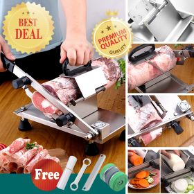 GOSSOO ST208C Manual Stainless Steel Frozen Meat Vegetable Cheese Food Gravity Slicer