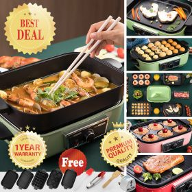 HM LZW-1901A 1400W Multi-Function Cooker Non-Stick Barbecue Grill, Griddle Takoyaki Pan Tray, 2.5L Hot Pot, Electric Skillet