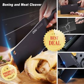 OOU Black Shark Series UC4083 German Steel 1.4116 Boning and Meat Cleaver, Full Tang Blade and Ergonomic Handle, Patent BO Oxidation for Anti-Rusting, Awarded German Red Dot Design