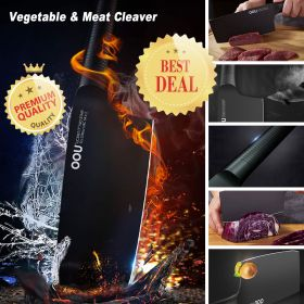 OOU Black Shark Series UC3966 Boning Cleaver Knife, UC3967 Vegetable and Meat Cleaver, Full Tang Blade and Ergonomic Handle, Patent BO Oxidation for Anti-Rusting, Awarded German Red Dot Design