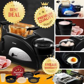 DONLIM XB-8002 Multi-functional Breakfast Station Egg-and-Muffin 2-Slice Toaster and Egg Poacher