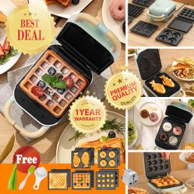 YIDPU YD-518S 5 in1 Detachable Non-stick Coating Sandwich Maker Waffle / Donut / Hong Kong Egg-Waffle / Takoyaki, Fish-shaped Cake Multi-Treat Baker, Breakfast Maker