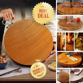 Southern Siam ZB22 Iroko Wood 5CM Extra Thick Round Cutting Board With Stainless Steel Ring, Butcher Block, Wood Chopping Board, Carving Board