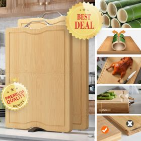 CHUXINGDA ZLKCB Large & Extra-Thick Bamboo Cutting Boards For Kitchen with Juice Groove, Portable Stand and Stainless Steel Handle Reversible Chopping Board for Meat/Vegetable Fruits Serving Tray, Butcher Block, Carving Board, BPA Free