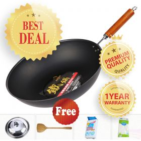 OTAFUKU HN33 Japanese Traditional Black Walnut Handled Cast-iron 33CM Healthy Stir-fry Pan/Wok (PFOA free)